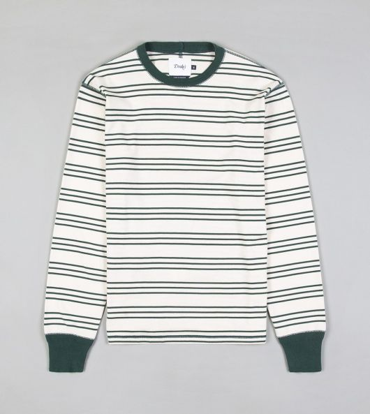 Green and White Stripe Long-Sleeved Hiking T-Shirt