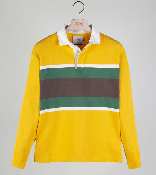 Yellow, Green and Brown Stripe Cotton Rugby Shirt