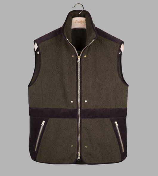 Olive Casentino Wool Fleece Gilet