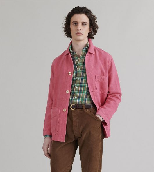 Bright Pink Japanese Linen Five-Pocket Chore Jacket