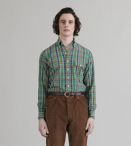 Blue and Green Check Cotton-Linen Button-Down Shirt