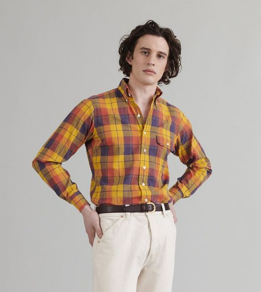 Orange and Yellow Check Cotton-Linen-Ramie Button-Down Shirt