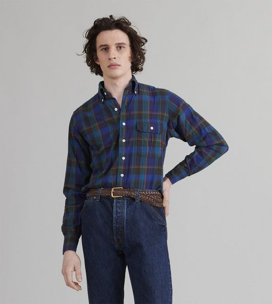 Green and Navy Check Cotton-Linen-Ramie Button-Down Shirt