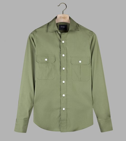 Light Green Fine Cotton Two-Pocket Work Shirt