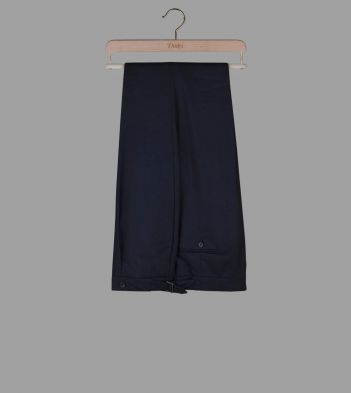 Navy Wool Flannel Trousers
