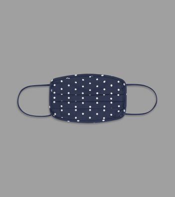 Navy Polka Dot Print Cotton Face Mask