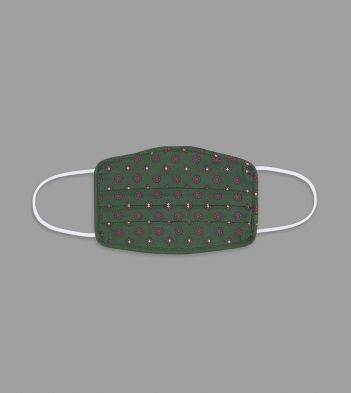 Green Circle and Diamond Print Cotton Face Mask