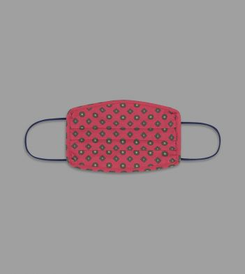 Red Circle and Diamond Print Cotton Face Mask