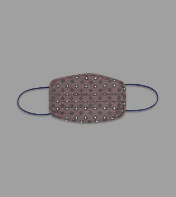 Brown Circle and Diamond Print Cotton Face Mask
