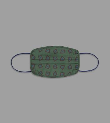 Green Painterly Geometric Print Cotton Face Mask