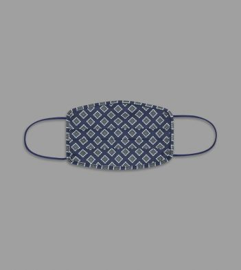 Navy Tile Print Cotton Face Mask