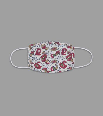 White and Red Exploded Paisley Print Cotton Face Mask