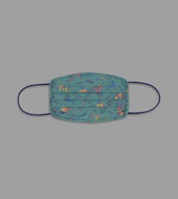 Teal Mughal Hunter Print Cotton Face Mask
