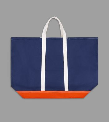 Olive, Navy and Orange Patchwork Canvas Tote Bag