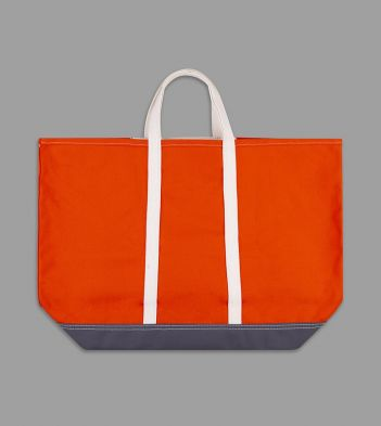 Orange and Grey Patchwork Canvas Tote Bag