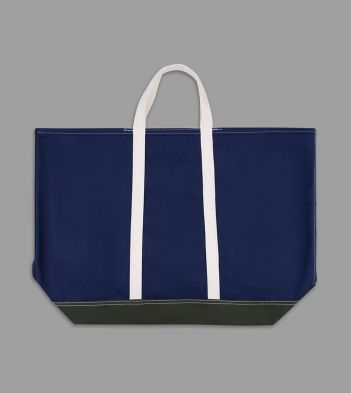 Navy and Olive Patchwork Canvas Tote Bag