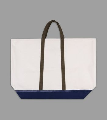 Ecru and Navy Patchwork Canvas Tote Bag