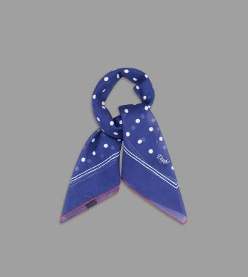 Blue and White Jumbo Spot Cotton-Silk Bandana