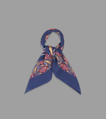 Navy, Red and Yellow Paisley Print Cotton-Silk Bandana