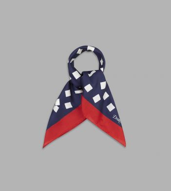 Navy, White and Red Tumbling Square Print Cotton-Silk Bandana