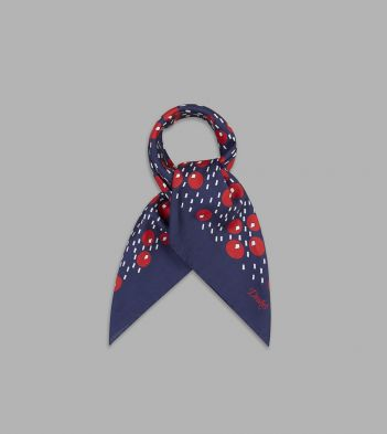 Navy, White and Red Circle Print Cotton-Silk Bandana
