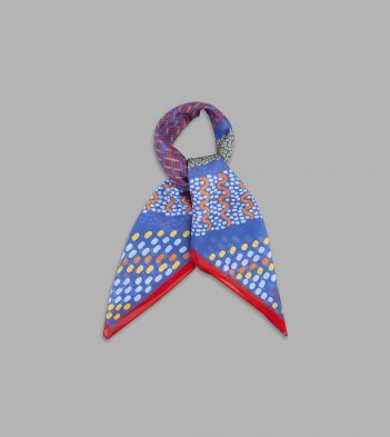 Blue and Red Squiggles and Dots Print Cotton-Silk Bandana