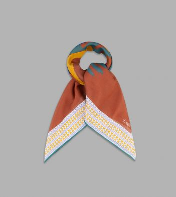 Orange and Green Magic Eye Print Cotton-Linen Bandana