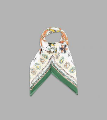 Ecru, Green and Orange Flora and Fauna Print Cotton-Linen Bandana