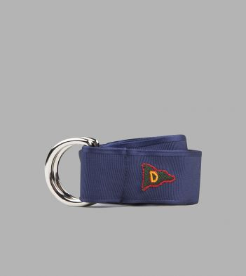 Navy D' Flag Embroidered D-Ring Ribbon Belt