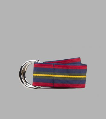 Red, Blue and Yellow Stripe D-Ring Ribbon Belt