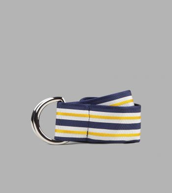 Blue and Yellow  Stripe D-Ring Ribbon Belt