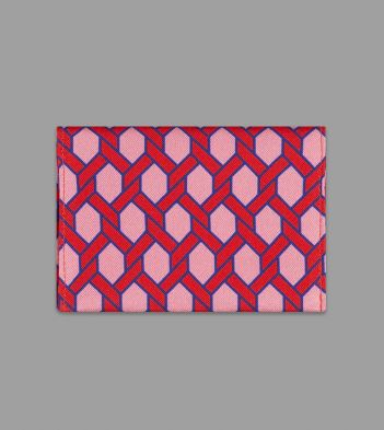Drake's with Campbell-Rey Red and Pink Giardinetto Print Silk Card Case