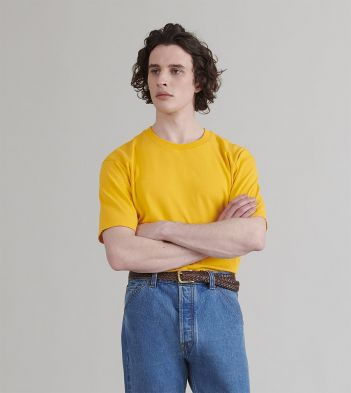 Mustard Cotton Crew Neck Hiking T-Shirt