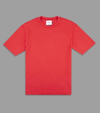 Lobster Red Cotton Crew Neck Hiking T-Shirt