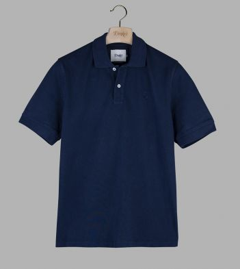 Navy 'Drake' Emblem Pique Cotton Polo Shirt