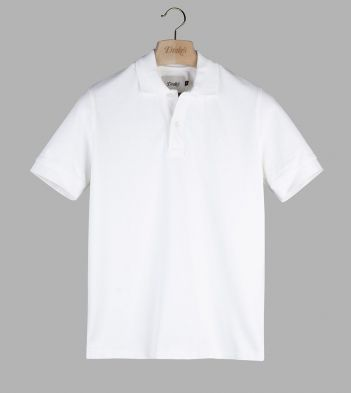 White 'Drake' Emblem Pique Cotton Polo Shirt