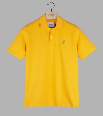 Yellow 'Drake' Emblem Pique Cotton Polo Shirt