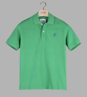 Green 'Drake' Emblem Pique Cotton Polo Shirt