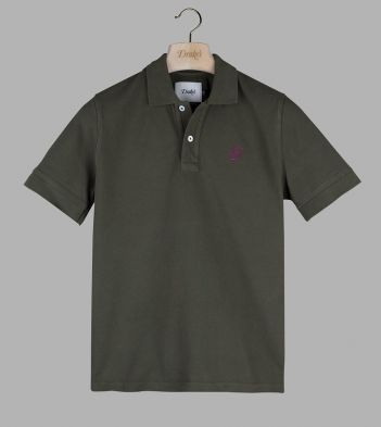 Olive 'Drake' Emblem Pique Cotton Polo Shirt