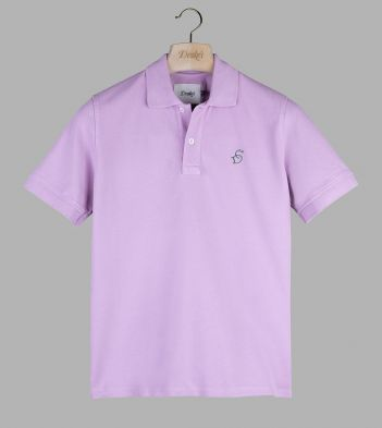 Pink 'Drake' Emblem Pique Cotton Polo Shirt