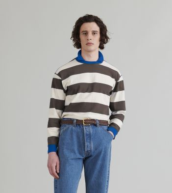 Brown and Ecru Stripe Mock Collar Long-Sleeve T-Shirt