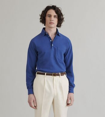 Cobalt Blue Cotton Pique Popover Polo Shirt