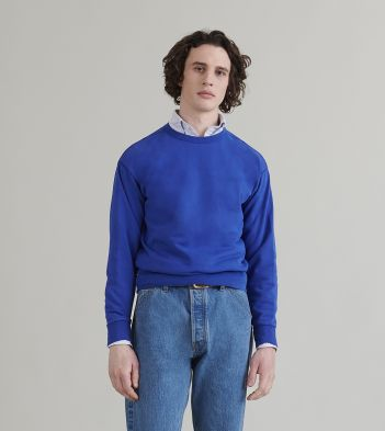Bright Blue Chain-Stitched Cotton Sweatshirt