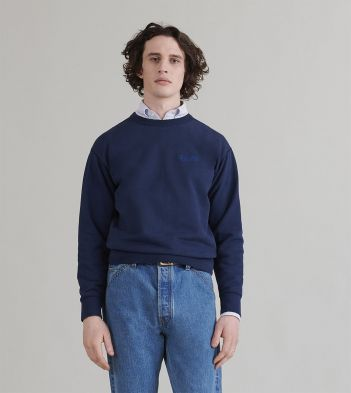 Navy Chain-Stitched Cotton Sweatshirt