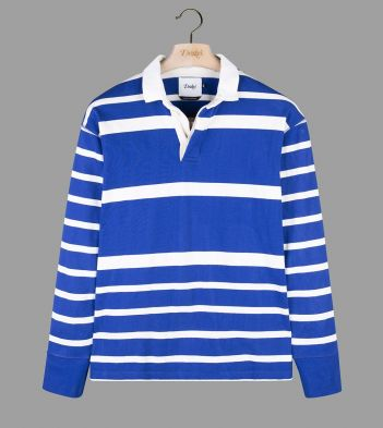 Royal Blue and White Multi Stripe Cotton Rugby Shirt