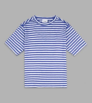 Royal Blue and White Breton Stripe Linen T-Shirt