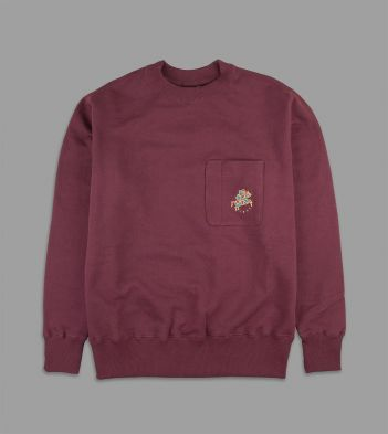 Aimé Leon Dore for Drake's Burgundy Utility Pocket 20oz Terry Cotton Sweatshirt