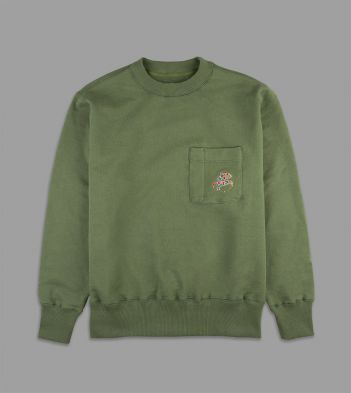 Aimé Leon Dore for Drake's Green Utility Pocket 20oz Terry Cotton Sweatshirt
