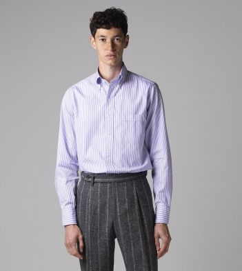 Purple Narrow Stripe Cotton Poplin Button-Down Shirt