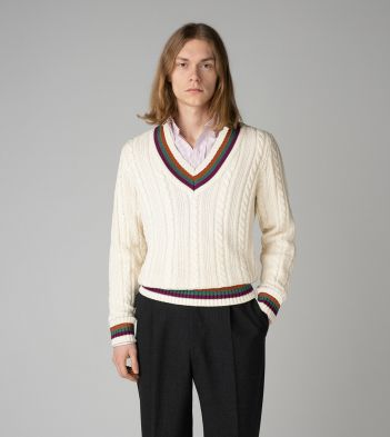 Ecru Cotton-Cashmere Cricket V-Neck Jumper